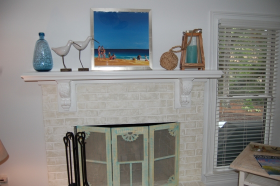 The new 'beachy' fireplace completed!